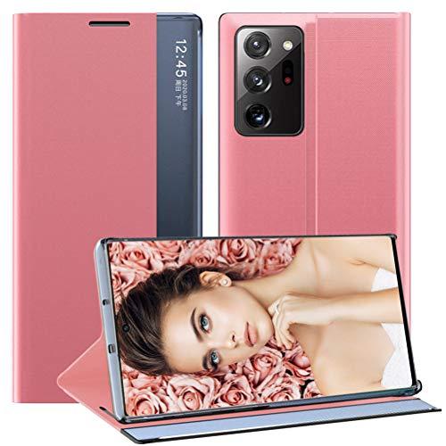 Croazhi Funda para teléfono móvil compatible con Samsung Galaxy Note 20 Ultra 5G, funda de piel con tapa, original Clear View Cover 360 grados, antigolpes, para Galaxy Note 20 Ultra (rosa)