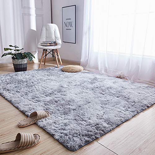 Teppiche Für Wohnzimmer, Fluffy Shaggy Super Weicher Teppich Geeignet Als Schlafzimmerteppich Home Decor Kinderzimmer Teppiche Kindermatte,Grau,120X160CM