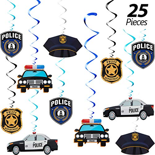 25 Pieces Police Party Hanging Swirls Police Party Supplies Birthday Party Decor Graduation Party Decor Hanging Decor Spirals and Swirls for Party