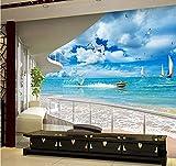Zybnb 3D Foto Moderno Mural Papel De Pared Rollo Mar Pacífico Playa Arena Barco Cielo Azul Nube Blanca Para Sala De Estar Sofá De Fondo