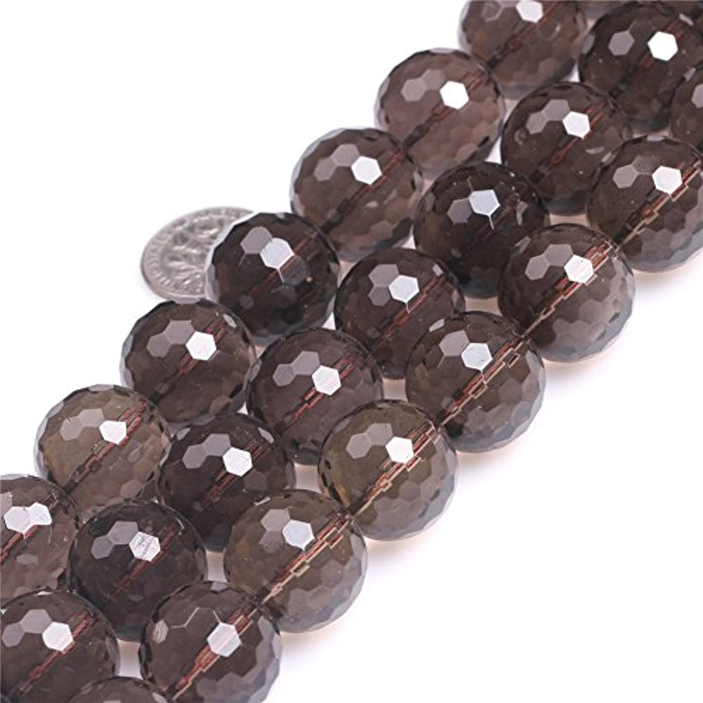 Round Faceted Smoky Quartz Gemstone Beads Strand 15 Inch Jewelry Making Beads aki3319203