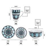 VEWEET, Tafelservice Serie 'Audrie' aus Porzellan, 32-teilig Kombiservice beinhaltet 10,75 '' Speiseteller, 7,5 '' Desserteller, 5,5 '' Schüssel und 380ml Kaffeebecher,Komplettservice für 8 Personen - 6