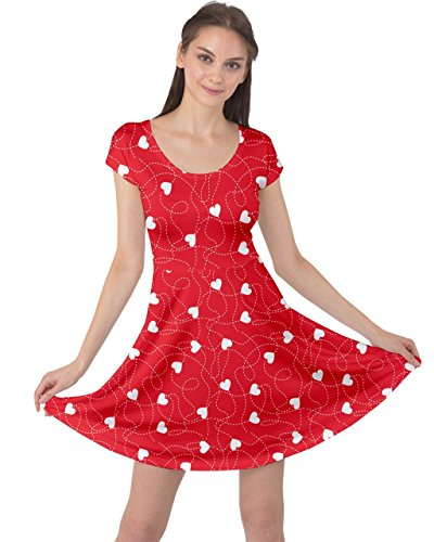 CowCow Womens Red Happy Valentines Day Love Heart Cap Sleeve Dress, Red - 2XL