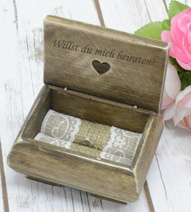 Happy Wedding Art Ring-Box Ring-Schatulle Ring-Schachtel Ring-Kästchen Willst du Mich heiraten? personalisiert Leaser Gravur Name Holz Kissen Ring Geschenk Hochzeit Verlobung Vintage-Stil