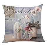 Kissenbezug Kissenhülle 45x45 cm Ronamick Blumen Kissenbezüge Sofakissen Dekokissen Sofa Bett Home Decorative Pillow Cover (D)