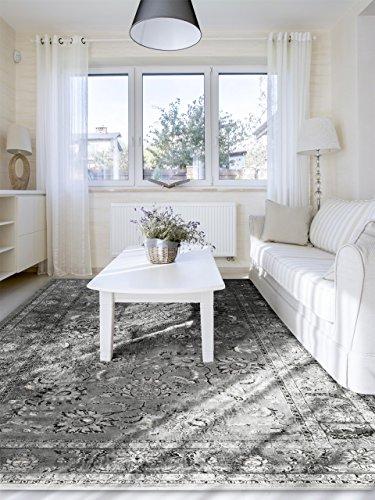 benuta Vintage Alfombra en (Aspecto Envejecido Velvet Antracita 140x 200cm | Moderna Alfombra para Dormitorio y Salón