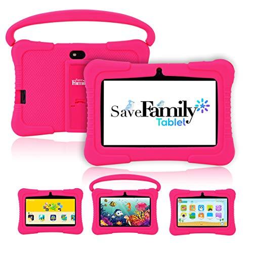 Tablet SaveFamily para niños pedagógica y Divertida. Navegador Seguro Infantil, Doble Control Parental con Dos App, más de 100 Juegos basados en el método Montessori. Totalmente en Castellano (Rosa)