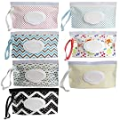 7 Pack Portable Refillable Wet Wipe Container, Reusable Portable Wet Wipe Pouch,Wipe Dispenser Container,Baby Travel Wet Wipe Holder