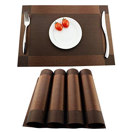 KoKaKo Sets de Table, Tapis de Table,4Pcs,Antidérapants, Anti usure, Résistant à la chaleur en PVC Lavables pour Cuisine, Salle à Manger(Brun)