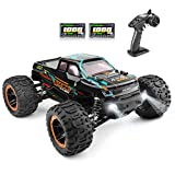 Hobby-grades remote control truck--Equipped with a powerful RC 390 motor, this 1:16 scale 4WD remote control car reaches speeds of up to 36KM/H. Two bright overhead lights allow you to play day or night. All-terrain RC vehicle-- This waterproof RC ca...