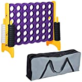 ECR4Kids Jumbo 4-to-Score Giant Game Set with Carry Bag, Backyard Lawn Games for Kids, Jumbo Connect-All-4 Oversized Game Set, Indoor or Outdoor Game, Family Fun Game, 4 Feet Tall - Purple and Gold