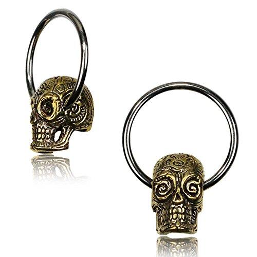 Chic-Net Universal Piercing Klemmkugel Ring silbern golden Brass Sugar Skull Septum Helix Tragus 1,2 mm