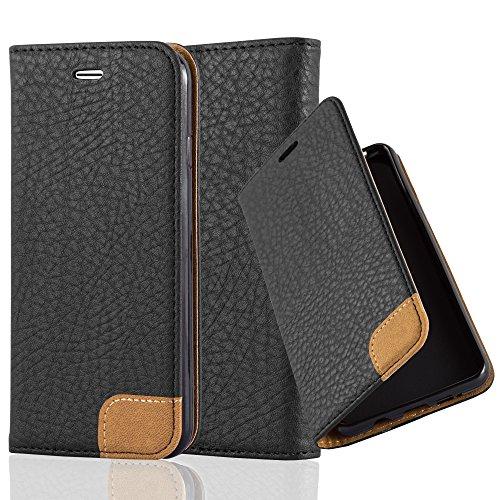 Preisvergleich Produktbild Cadorabo Hülle für Apple iPhone 6 / iPhone 6S - Hülle in Signal SCHWARZ Handyhülle mit Standfunktion,  Kartenfach und Textil-Patch - Case Cover Schutzhülle Etui Tasche Book Klapp Style