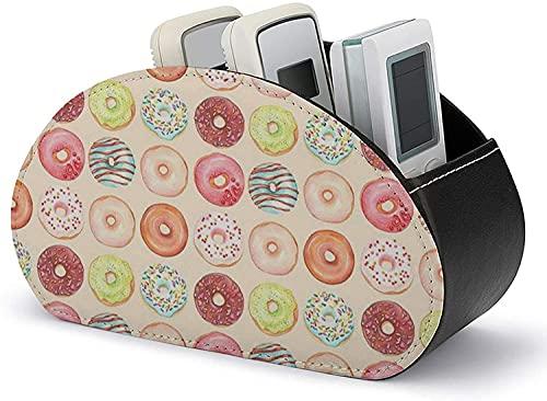 Caja de almacenamiento de cuero Soporte de control remoto todo en uno de plátanos diferentes con 5 compartimentos Bandeja organizadora Pincel de maquillaje Soporte para bolígrafo-Negro-Dulces Donuts9