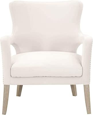 Benjara Benzara Fabric Upholstered Club Chair with Beautiful Arm Rest, White