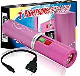 FIGHTSENSE Flashlight Lipstick Stun Gun Women Self Defense Bright Led Flashlight - Rechargeable Battery (Pink)