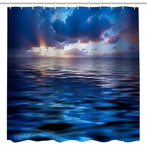 Blue Ocean Deocr Shower Curtain Fabric,Tropical Nautical Sunrise Sea Wave Colorful Clouds Nature Art Printing Bath Curtain,Polyester Waterproof Bathroom Accessories with Hooks,72x72 Inch ,Navy,Blue
