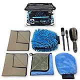 SUDZ BUDZ Premium Microfiber Car Wash Kit 8pcs | Chenille Mitt, Dual Wash Mitt, Microfiber Towels, Wheel Brush, Car Detailing Brush Set | Auto Detailing Supplies for Exterior Washing Interior Cleaning