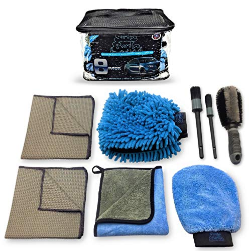 Sudz Budz Premium Microfiber Car Wash Kit 8pcs | Chenille Mitt, Dual Wash Mitt, Microfiber Towels, Wheel Brush, Car Detailing Brush Set | Auto Detailing Supplies for Exterior Washing Interior Cleaning