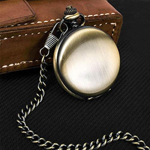 Vintage zakhorloge voor dames en heren met halskettinghanger, twee zijden van brons, inklapbare ventilator, Romeinse cijfers, sleutelhanger, Steampunk, klassieke pullover, riemketting