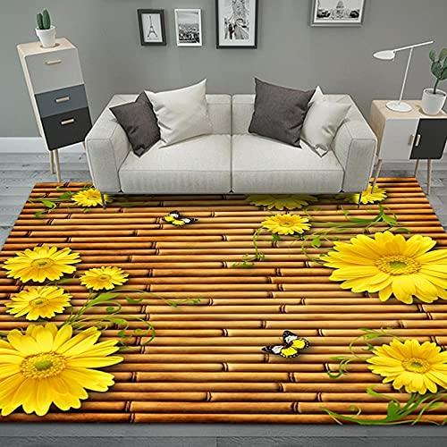 QWFDAQ Alfombra de Pelo Corto para salón, Flor de balsa de bambú...