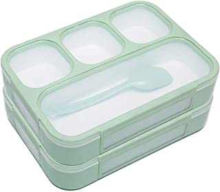 Bento Lunch Box for Kids Adults, 2 Pack 4 Compartment Lunch Boxes with Leak-proof Lids, BPA-Free Plastic Food Storage Containers for School Work Outdoors Meals and Snacks, Microwave Safe