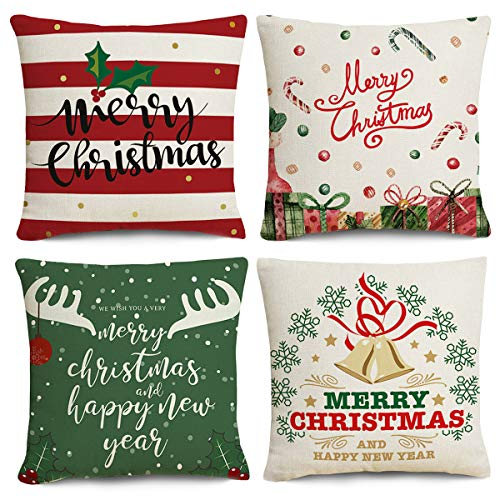 Jjyee Merry Christmas Decorations Pillow Covers Merry Christmas Tree and Deer Magic Winter 18x18 Inch Set of 4, Cotton Linen Pillow Covers Christmas Decor