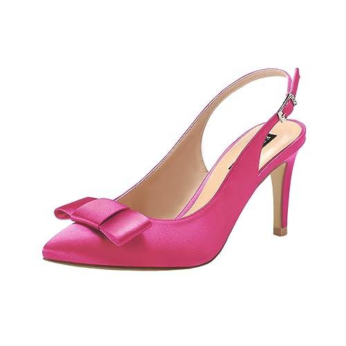 51beb3b7373 ERIJUNOR Pointy Toe Pumps Mid Heels Wedding Evening Party Prom Slingback  Satin Shoes