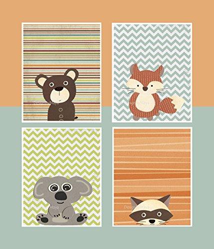 Product Image of the DesignByMaya Woodland Animal Art Baby Animal Nursery Prints Forest Friends...
