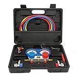 MWPO Aire Acondicionado AC Diagnostic A/C Manifold Gauge Tool Set Refrigeración R-134A con Caja de Herramientas Negra