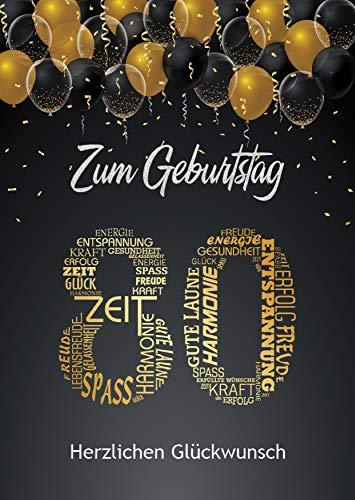 Elegante Glückwunschkarte zum Geburtstag 80 Jahre Geburtstagskarte A5 groß mit Nummer 80 und Glückwünschen Schwarz Gold 80. Geburtstag