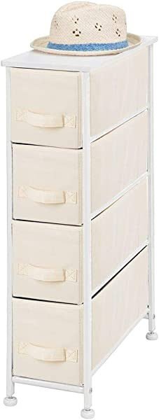 MDesign Narrow Vertical Dresser Storage Tower Sturdy Metal Frame Wood Top Easy Pull Fabric Bins Organizer Unit For Bedroom Hallway Entryway Closet Textured Print 4 Drawers Cream White