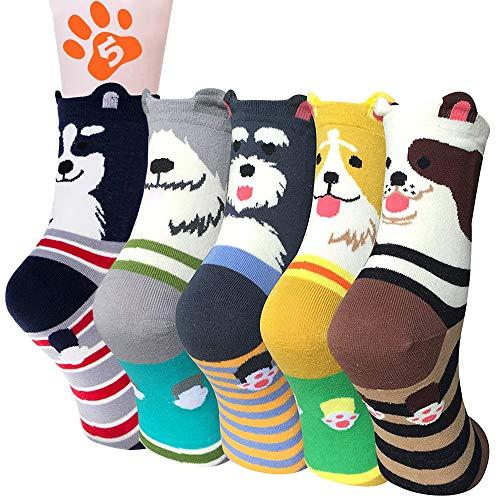 BHGWR Damen Socken 5 Paar, Multipack Wintersocken Kuschelsocken Baumwollsocken für Frauen Mädchen Weihnachten Geschenke, Winter Dicke Warme Lustige Damen Baumwolle Socken mit Gedruckter Cartoon-Hund