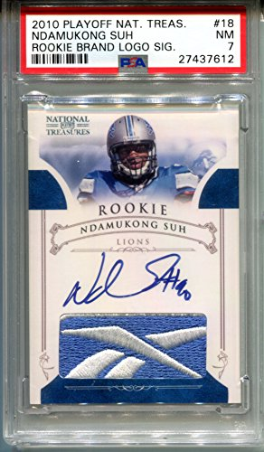 2010 Ndamukong Suh Rookie National Treasures AUTO Logo Patch Jersey RC #18 Graded PSA 7 NM Detroit Lions #/10 Football Trading Card LA Rams