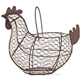 tag Farmhouse Vintage Chicken Egg Wire Basket with Handle for Kitchen Living Room Home Decor Storage Collecting