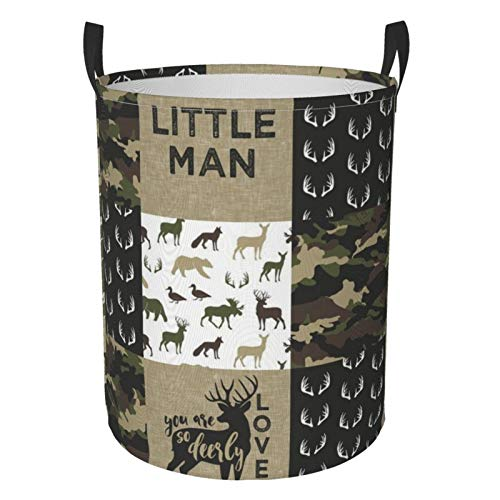 Collapsible Round Storage Bin,Little Man Woodland Wholecloth C Camouflage Large Storage Basket Laundry Hamper Organizer Basket for Toy Bins, Bedroom, Clothes
