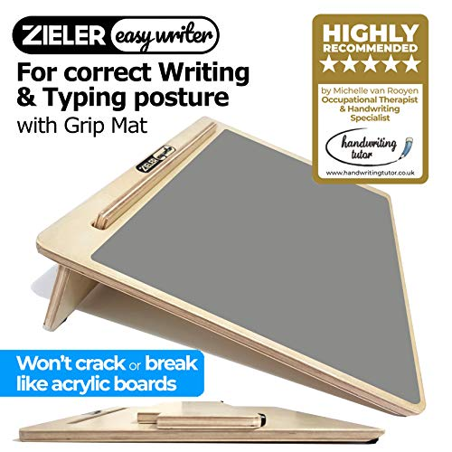 Ergonomic A3 Writing Slope with Grip MAT for Better Writing Posture & Comfort - by ZIELER Easywriter, Lacquered Wood with 20 Angle. Suitable for Children & Adults. Space Saving Design