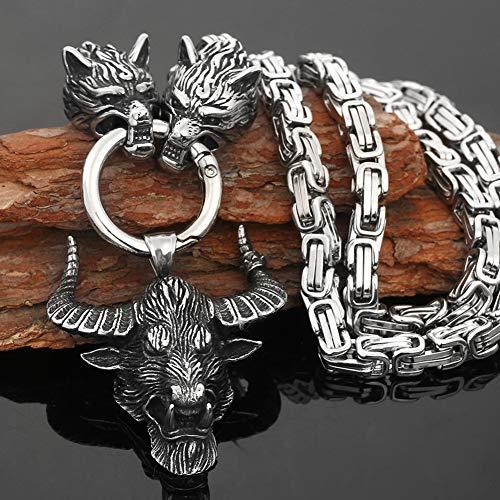 YCYR Collar Cabeza Toro Vintage para Hombre, Colgante TalismáN Cuerno Buey MitologíA Vikinga NóRdica Cabeza Lobo Acero Inoxidable, JoyeríA Cadena Bizantina,50cm 20in