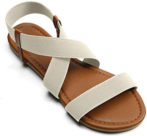 Fasehold Elastic Flat Sandals for Women Beige White 09