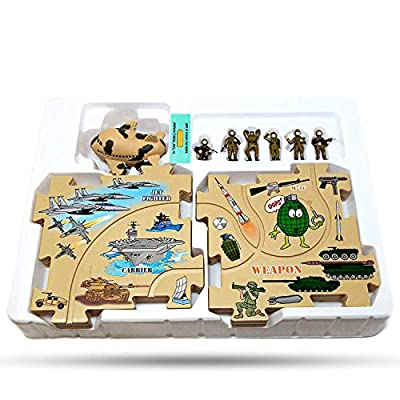 Perfect Life Idea Military Vehicle Puzzle Track Play Set - Battery Operated Toy Random Themed Style Vehicle Runs on Interchangeable Puzzle Tracks - Make up to 50 Track Combinations