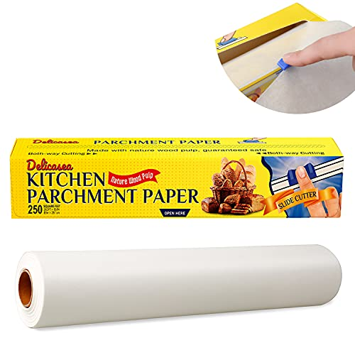 Delicasea 250 SQ FT Parchment Paper Roll for Baking 15 in x 200 ft with Slide Cutter, White Baking Paper Roll for Cooking, Roasting, Grilling