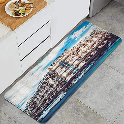 KASMILNTapis de Cuisine,Bâtiment Intersection Ville Carrefour Bâtiment Magasin Restaurant Paysage Paysage Voiture,Tapis de Cuisine résistant et antidérapant épais45*120cm