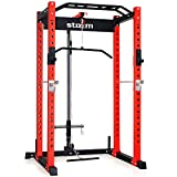 """STOZM 3""""x3"""" Multi-Functional Squatting Rack/Power Rack Supports 1100lbs (Red/Black) and LAT..."""