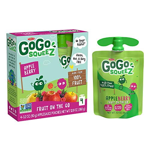 GoGo squeeZ Applesauce, Apple Berry, 3.2 Ounce (48 Pouches), Gluten Free, Vegan Friendly, Unsweetened Applesauce, Recloseable, BPA Free Pouches