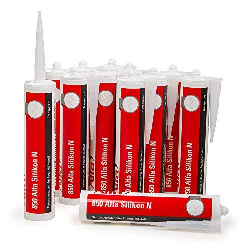 12x Bau Silikon transparent 300 ml UV- und witterungsbeständiger Qualitäts-Dichtstoff