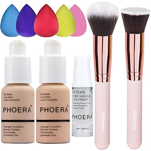 Phoera Foundation Phoera Primer Concealer Cover Flüssigmatt Full Coverage Concealer Cover Shadows Skin Care Foundation Oil Control Erhellen Sie den langlebigen Shade Nude #102,Buff Beige #104