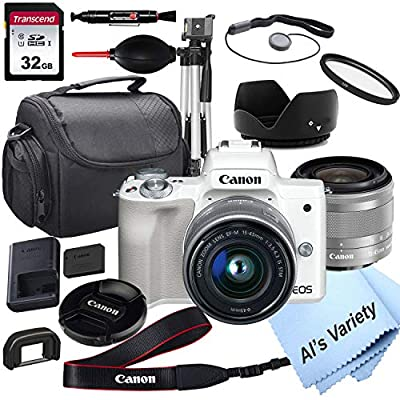 Canon EOS M50 (White) Mirrorless Digital Camera with 15-45mm Lens + 32GB Card, Tripod, Case, ALS Variety 18pc Bundle from Al's Variety-Canon intl