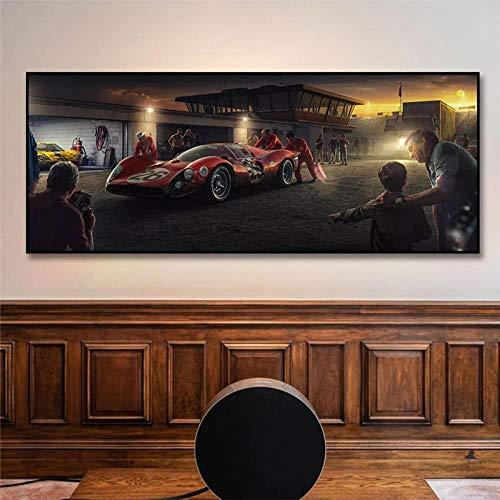 WTYBGDAN Dream Red Car Racing póster Impreso en Lienzo Pintura nórdica Cuadro de Arte de Pared para Sala de Estar decoración del hogar | 50x150cm / sin Marco