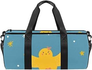 DJROWW Reisetasche aus Segeltuch mit gelbem Küken und weißem Kaninchen