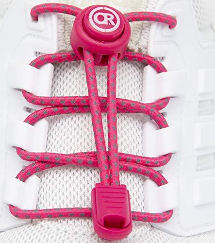 ONLY RUN Reflektierende Elastische Schnürsenkel mit Schnellverschluss perfektes Schnellschnürsystem für Kinder, Erwachsene & Senioren und für sportliche Aktivität wie Marathon, Triathlon (8. Pink)